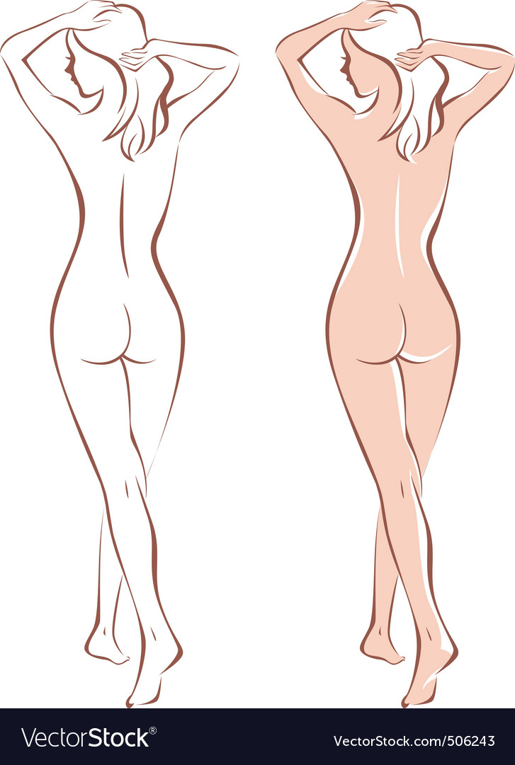 Nude woman silhouette vector | Price: 1 Credit (USD $1)