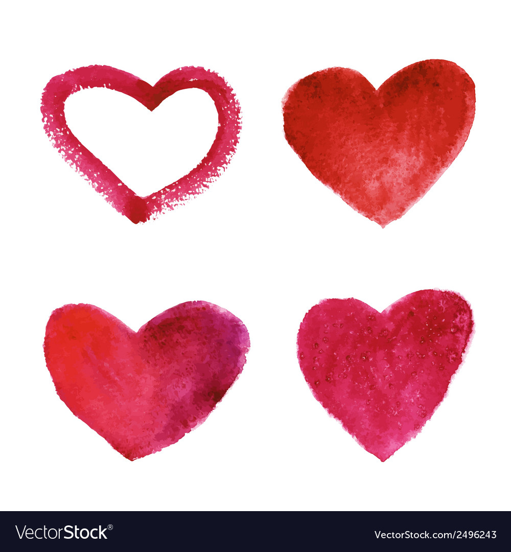 Set of watercolor red hearts vector | Price: 1 Credit (USD $1)