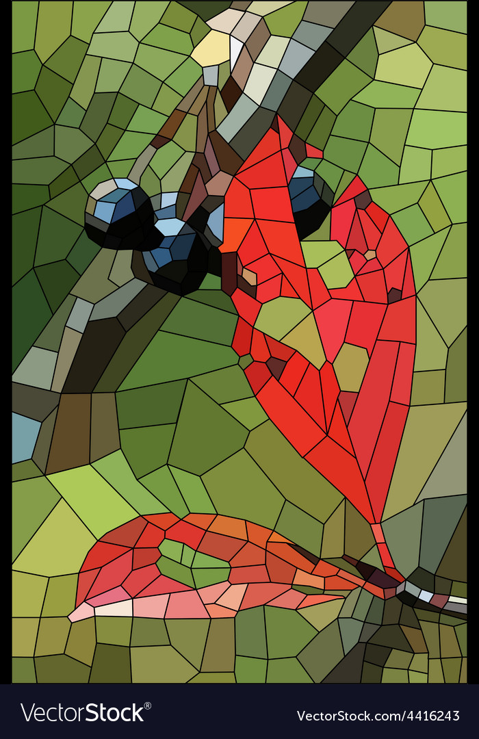 Stained glass with withered leaves and ripe berrie vector | Price: 1 Credit (USD $1)