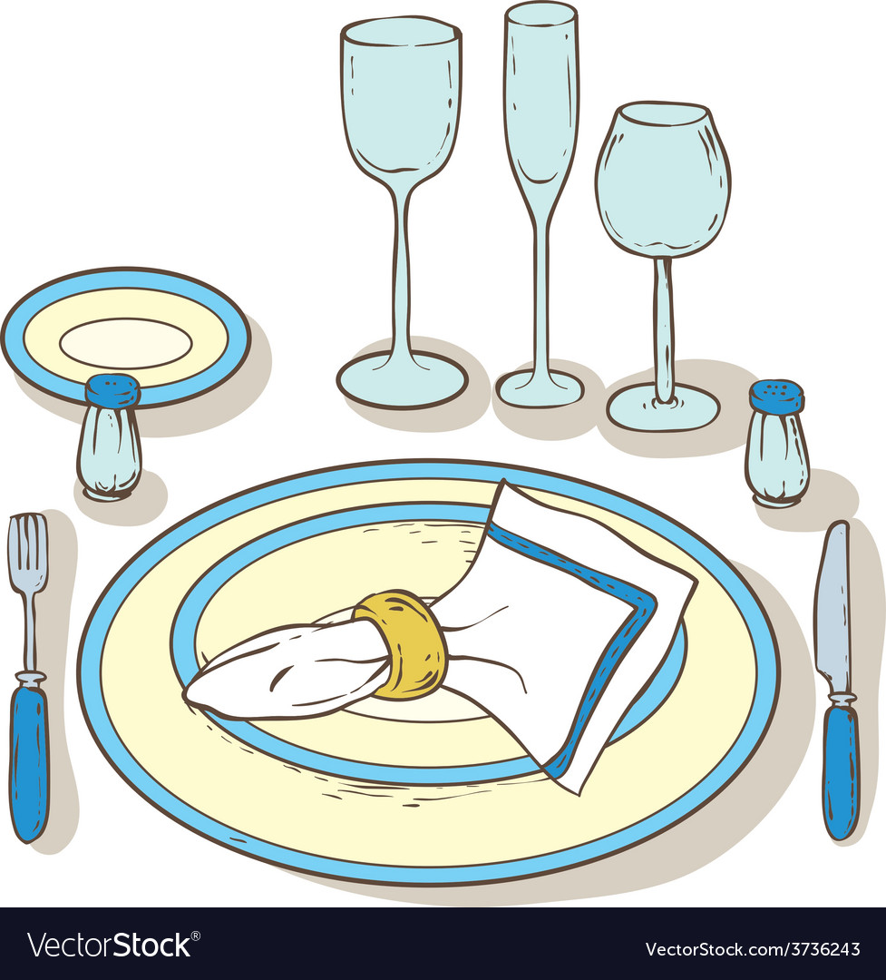 Table setting vector | Price: 1 Credit (USD $1)