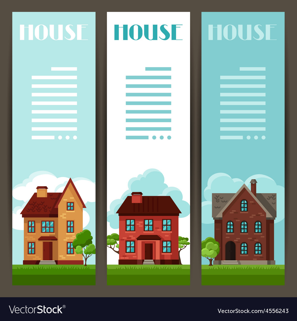 Town vertical banners design with cottages and vector | Price: 1 Credit (USD $1)
