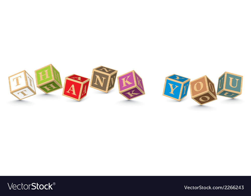 Word thank you written with alphabet blocks vector | Price: 1 Credit (USD $1)