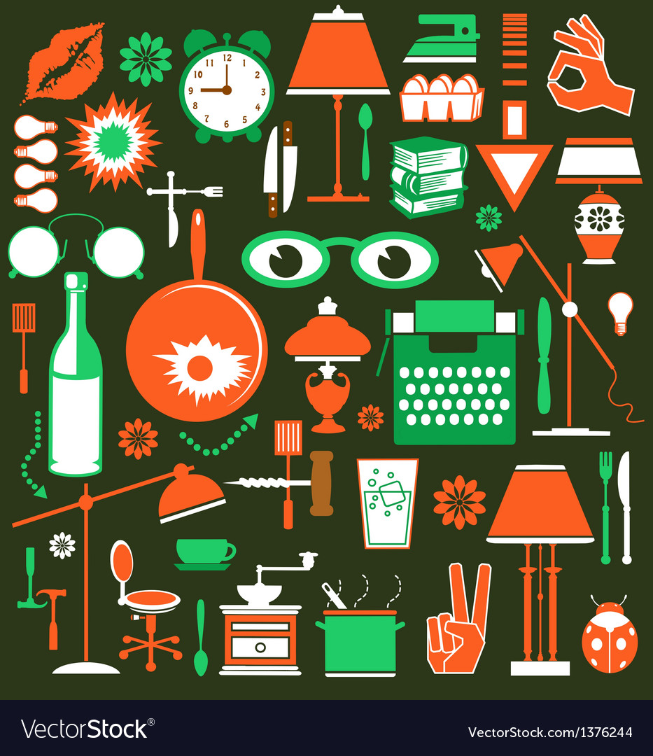 A set of household items vector | Price: 3 Credit (USD $3)