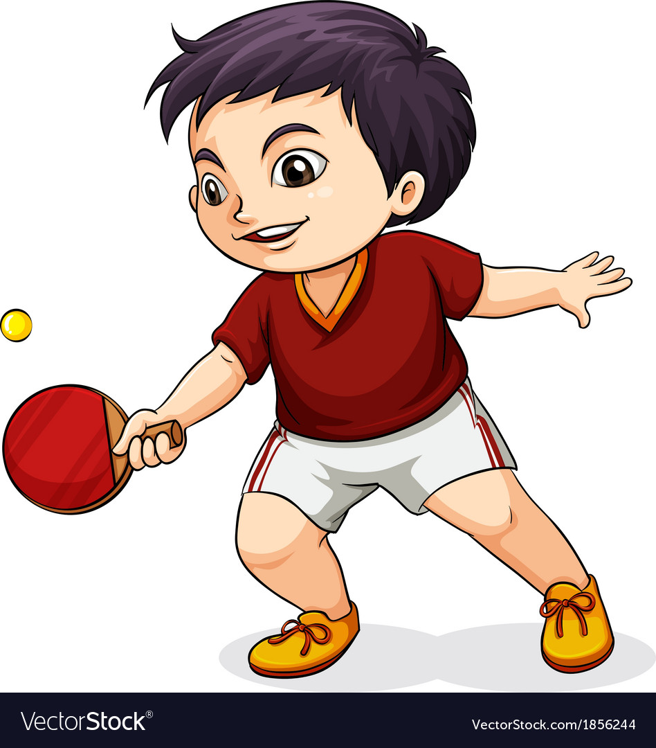 An asian boy playing tabletennis vector | Price: 1 Credit (USD $1)