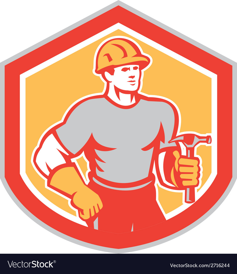 Builder carpenter holding hammer shield retro vector | Price: 1 Credit (USD $1)