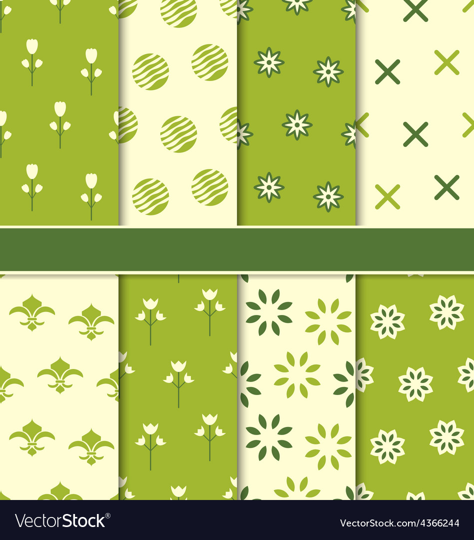 Collection of 8 seamless abstract floral ecologic vector | Price: 1 Credit (USD $1)