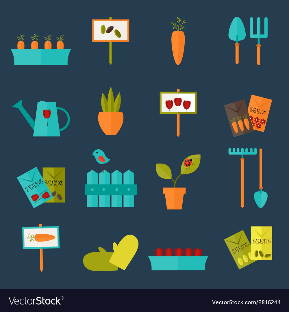 Gardening set icons over blue vector   Price: 1 Credit (USD $1)
