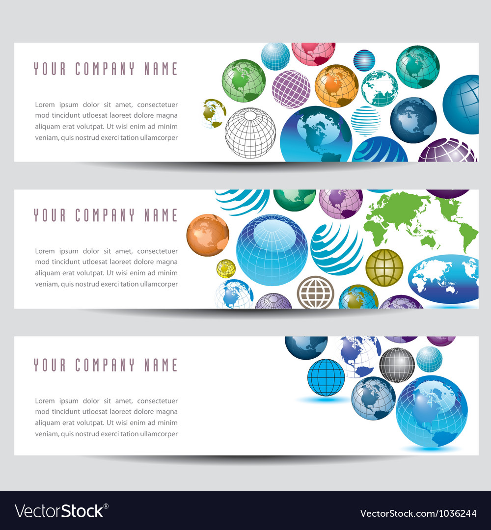 Globe banners vector | Price: 1 Credit (USD $1)