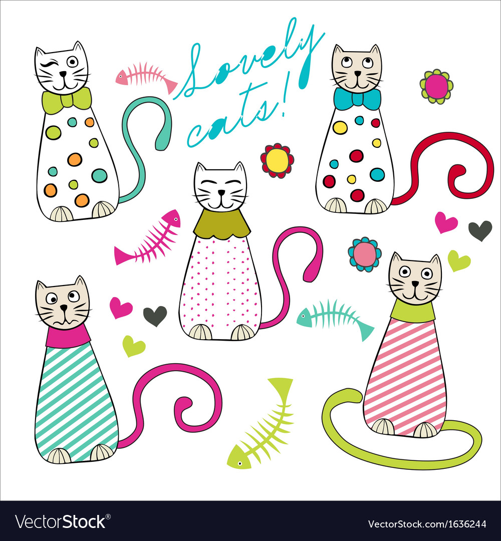 Lovely cats vector | Price: 1 Credit (USD $1)