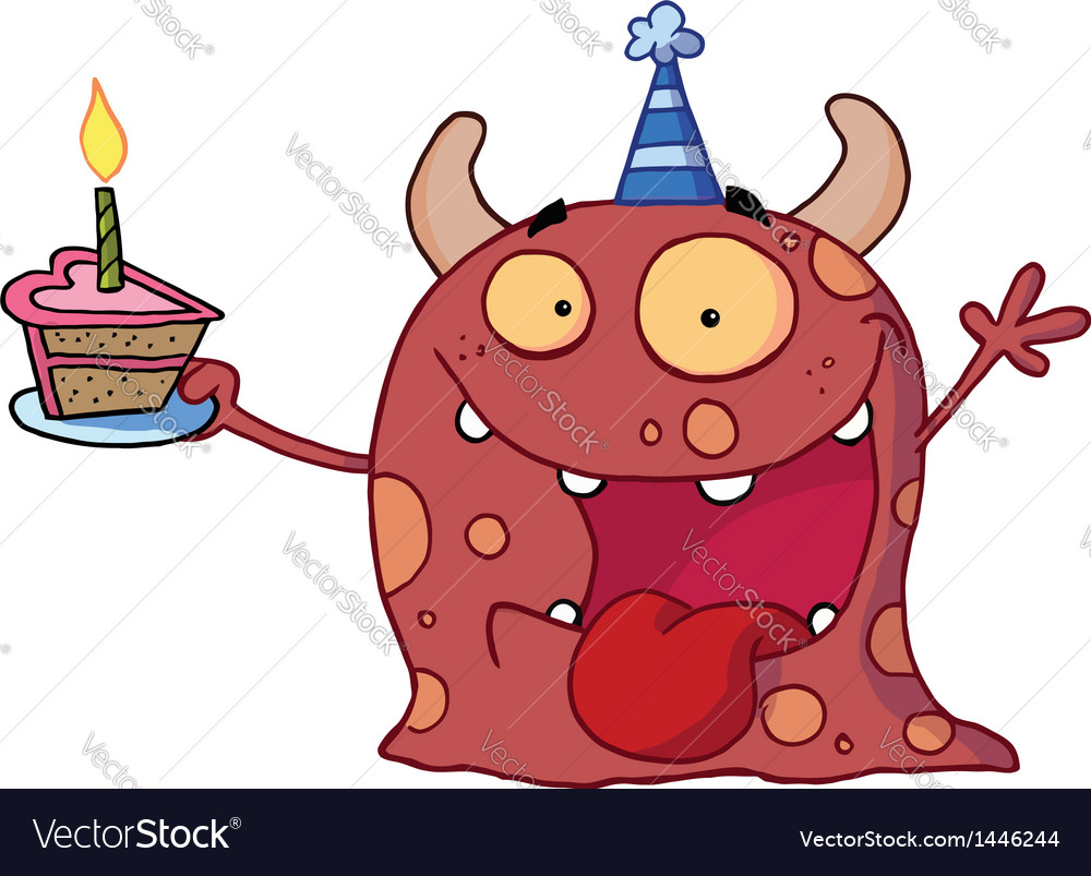Monster wearing a party hat and holding a cake vector | Price: 1 Credit (USD $1)