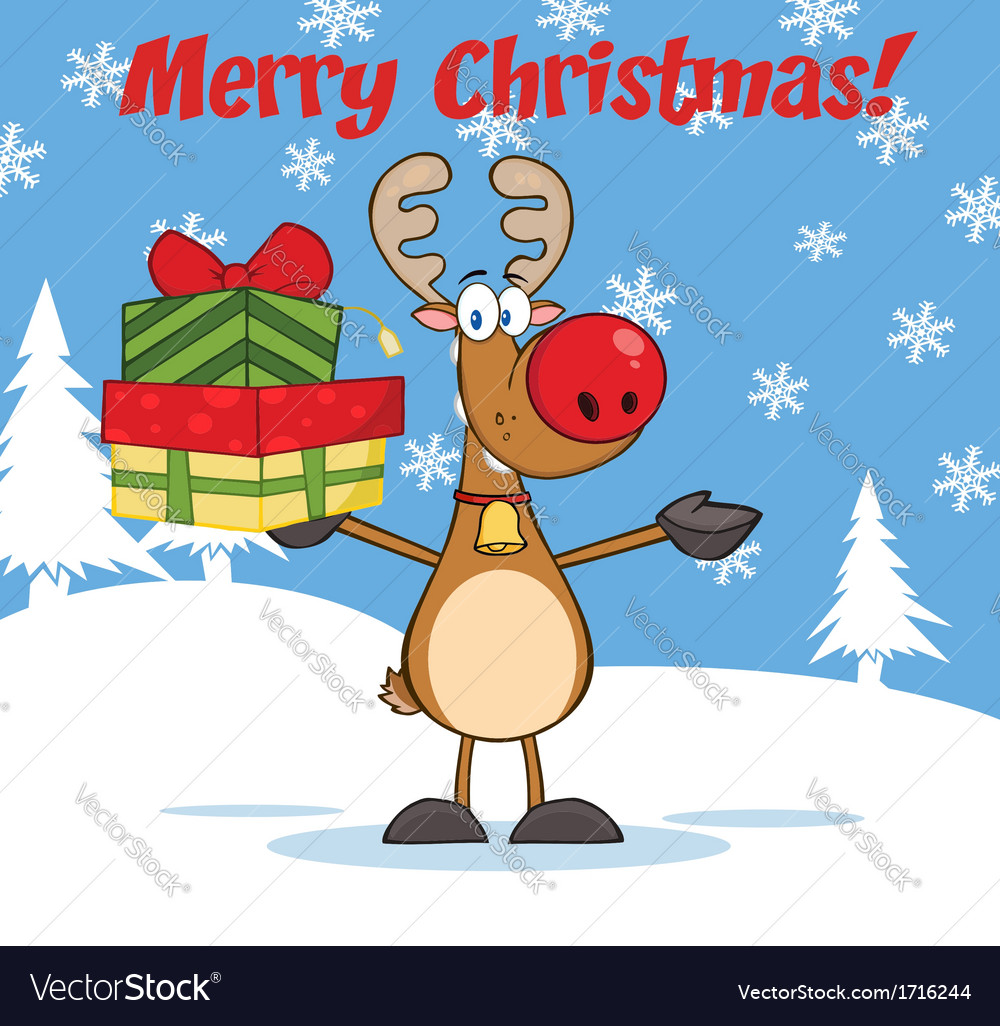 Reindeer christmas cartoon vector | Price: 1 Credit (USD $1)