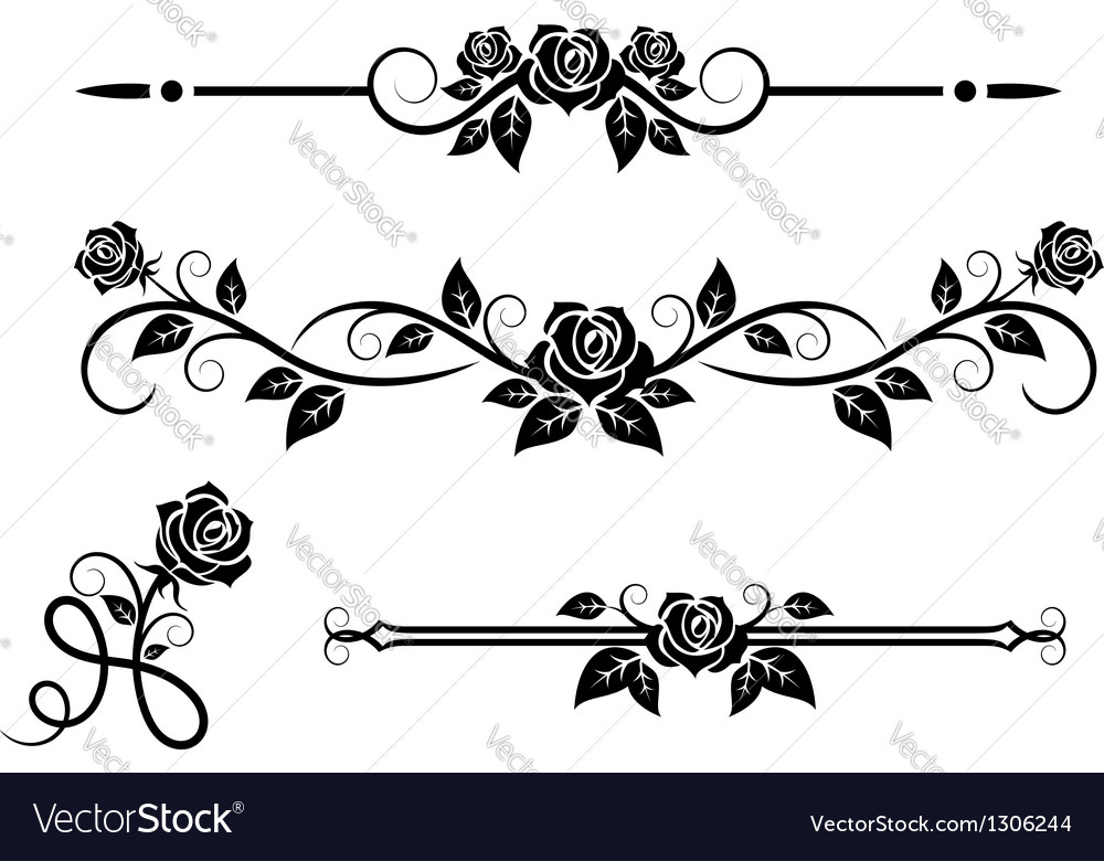 Rose flowers with vintage elements vector | Price: 1 Credit (USD $1)