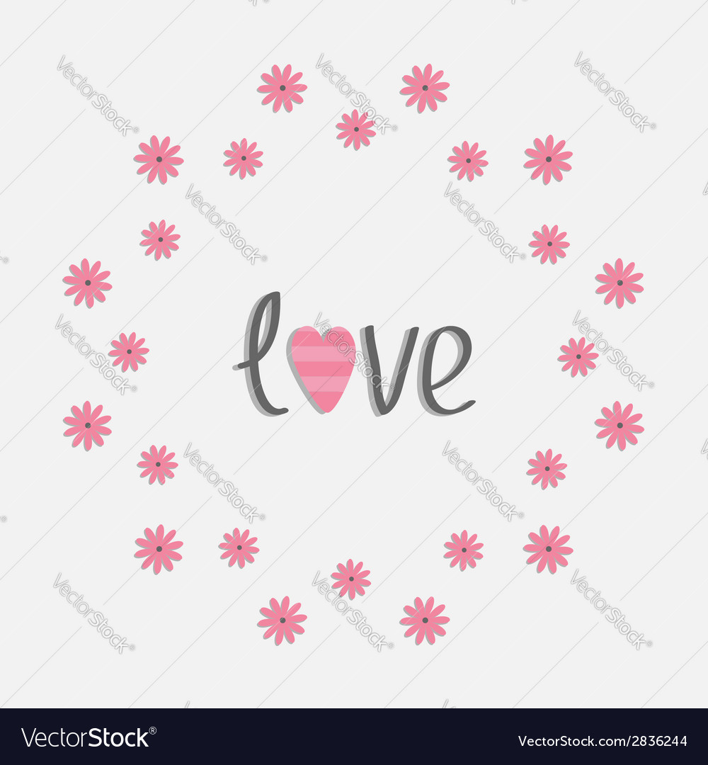Round love frame with pink daisy flat design style vector | Price: 1 Credit (USD $1)
