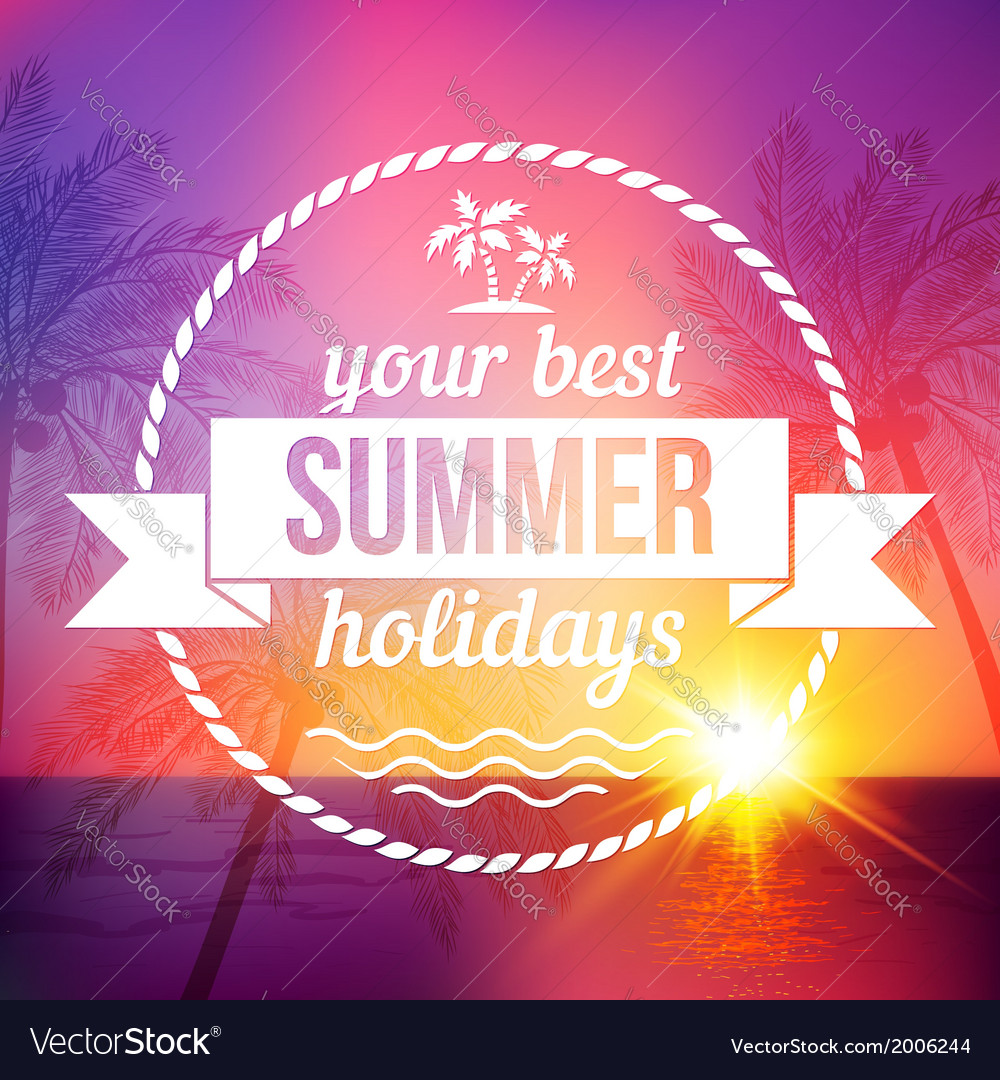 Summer tropical sunset background with text badge vector | Price: 1 Credit (USD $1)