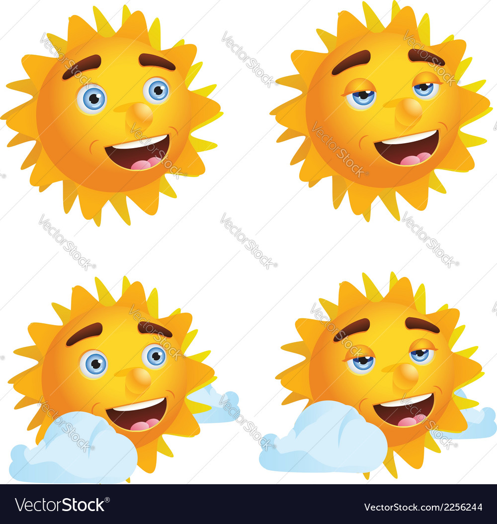Sun with different emotions2 vector | Price: 1 Credit (USD $1)