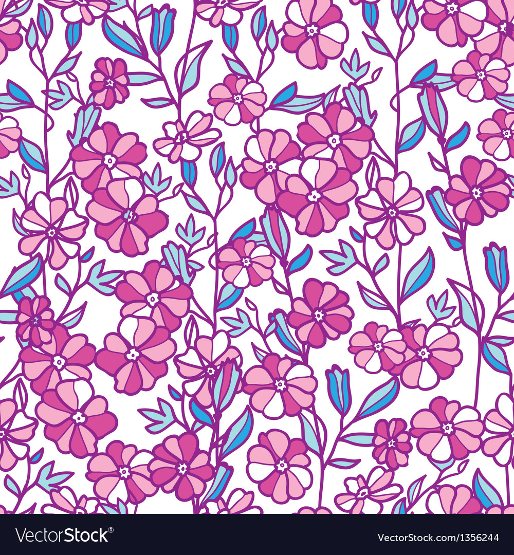 Vibrant field flowers seamless pattern background vector | Price: 1 Credit (USD $1)