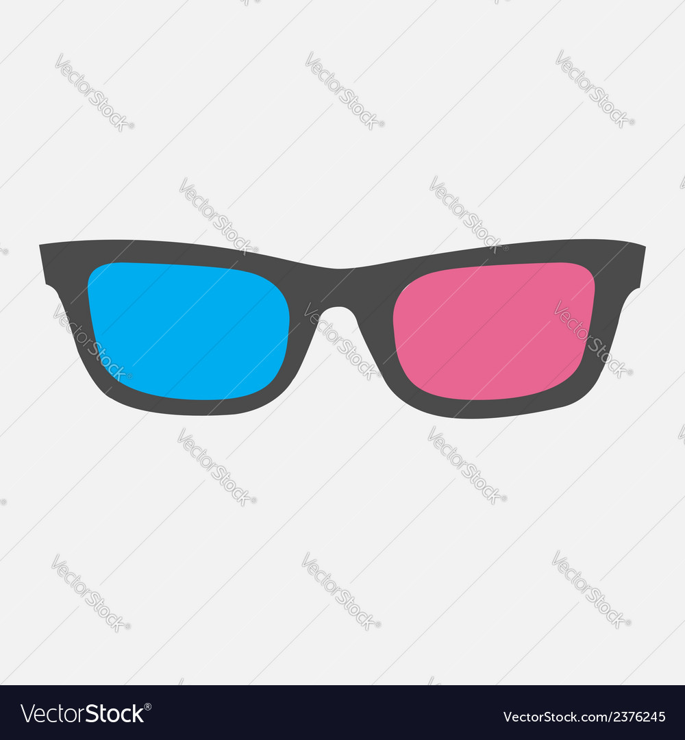 3d glasses icon isolated flat design style vector | Price: 1 Credit (USD $1)