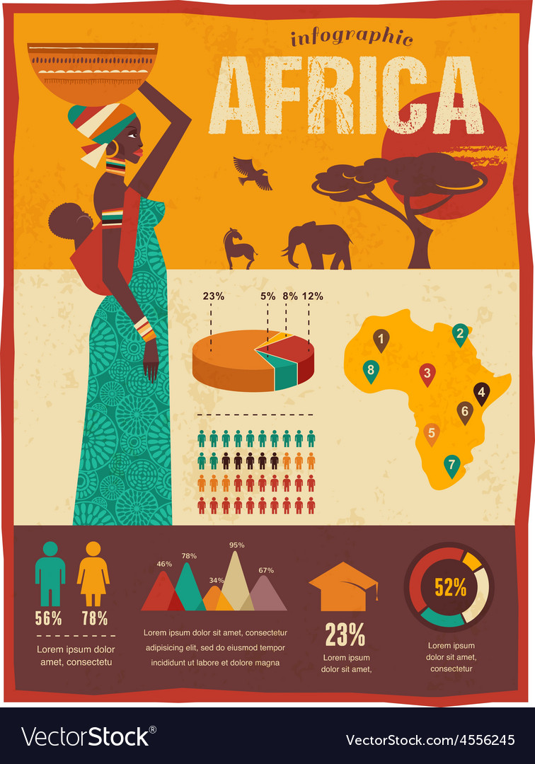 Africa  infographics and background vector
