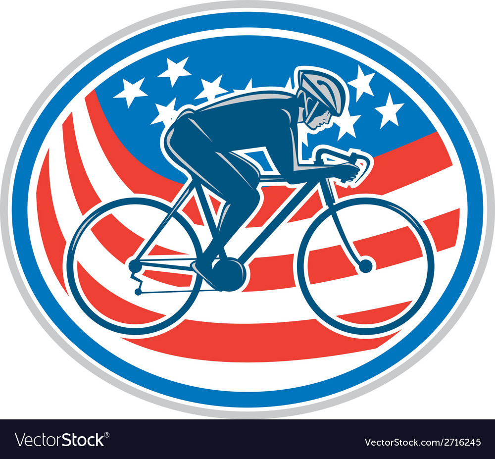 Cyclist riding mountain bike american flag oval vector | Price: 1 Credit (USD $1)