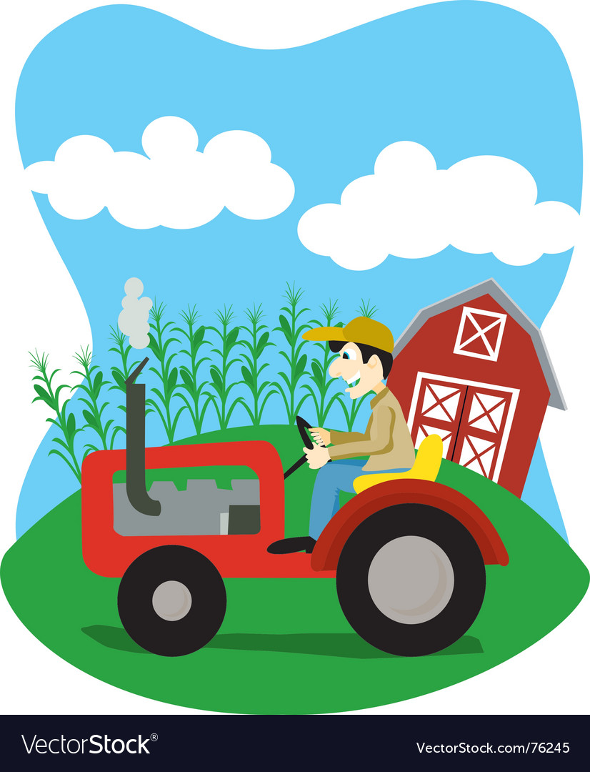 Farmer on a tractor vector | Price: 1 Credit (USD $1)