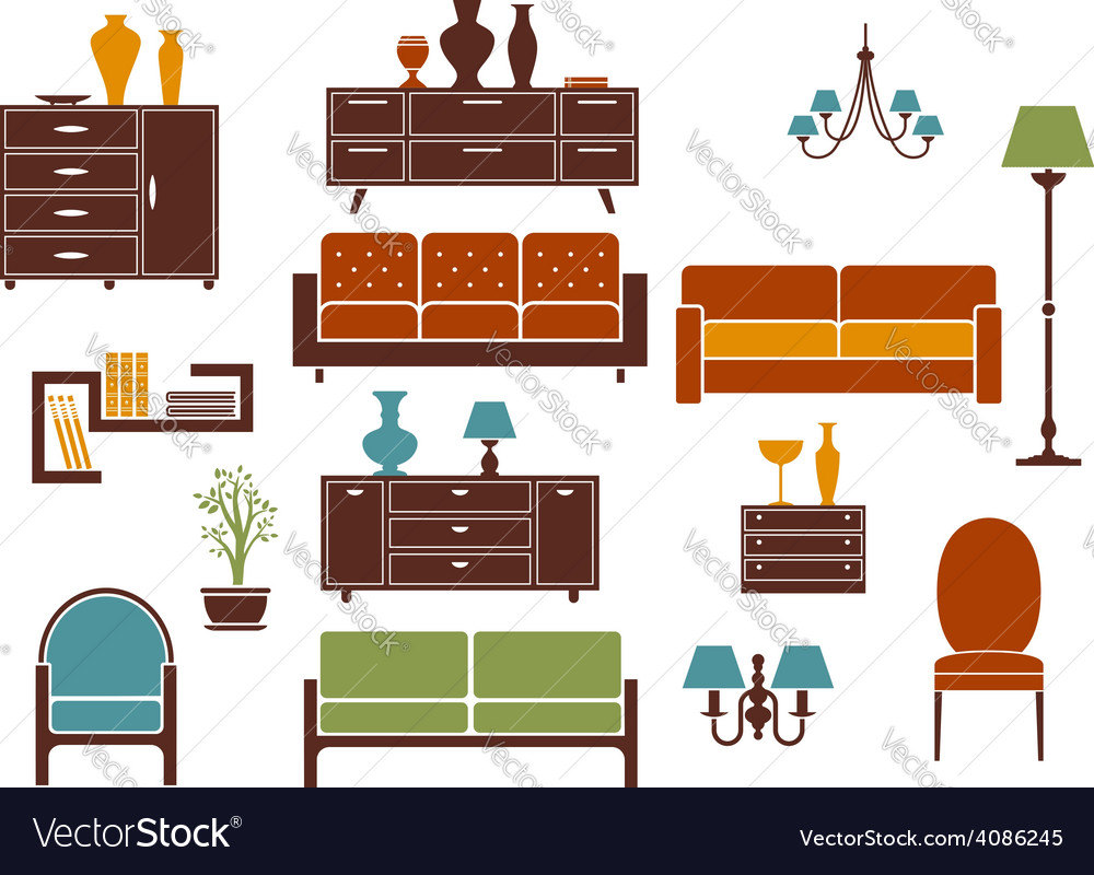 Furniture and home interior flat design elements vector | Price: 1 Credit (USD $1)