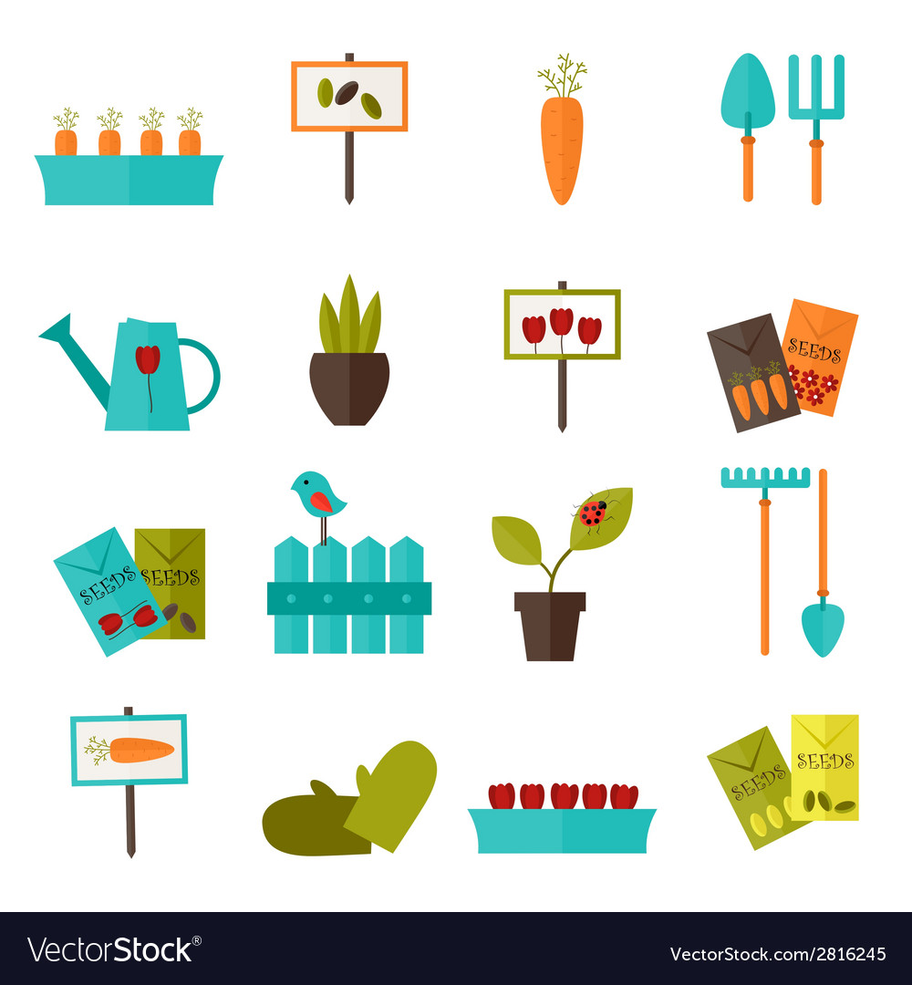 Gardening set icons over white vector | Price: 1 Credit (USD $1)