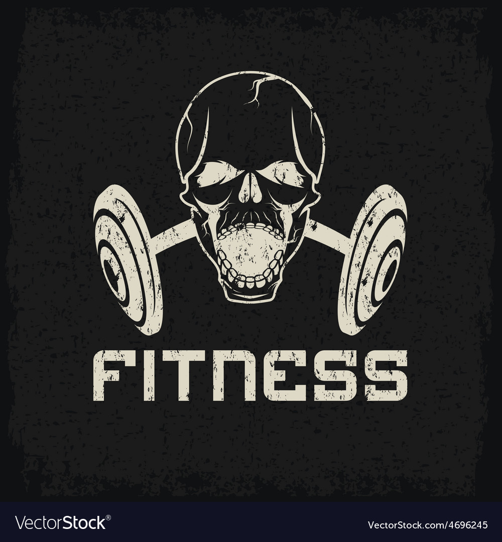 Grunge aggressive skull and barbell fitness emblem vector | Price: 1 Credit (USD $1)