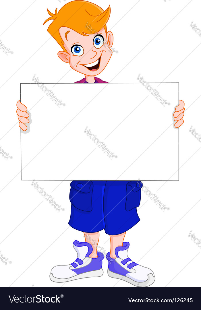Kid holding blank sign vector | Price: 1 Credit (USD $1)
