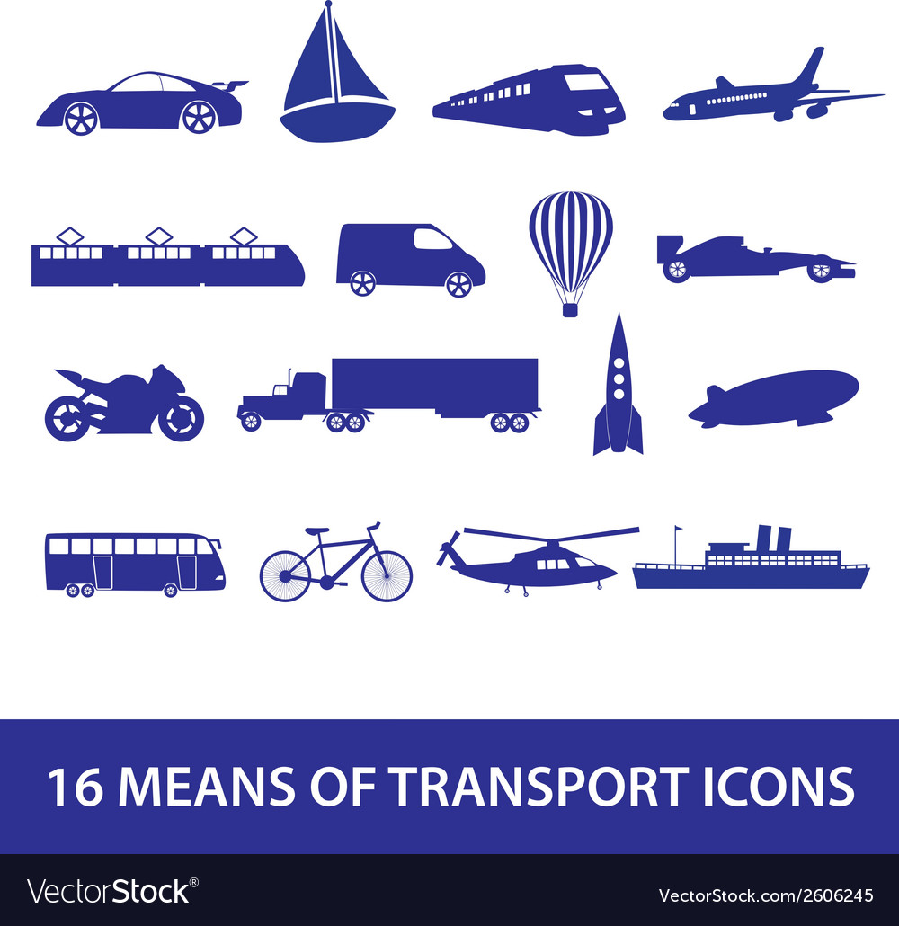Means of transport icon set eps10 vector | Price: 1 Credit (USD $1)