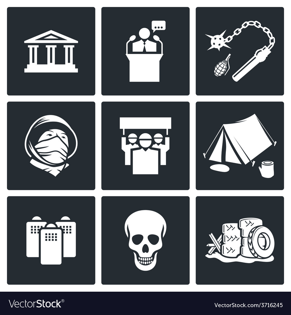 Protest icon set vector | Price: 1 Credit (USD $1)