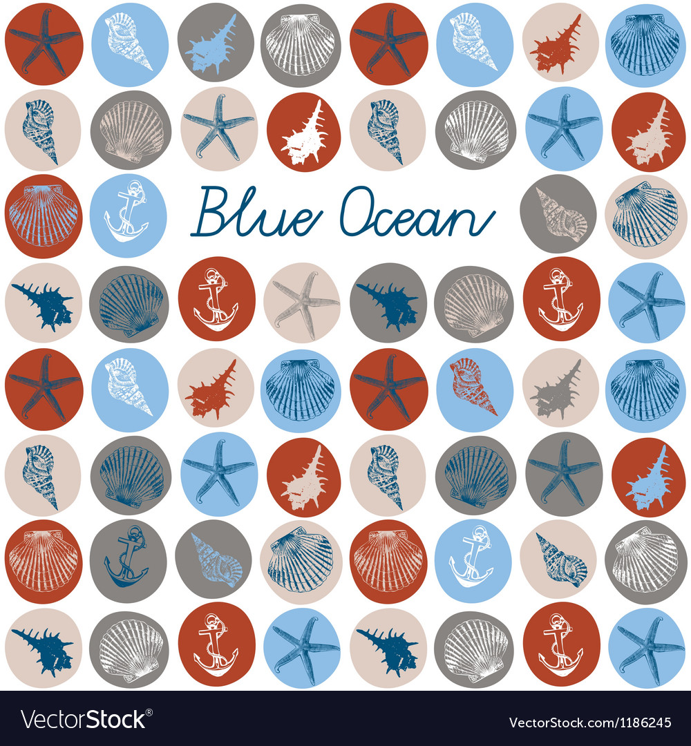 Sea fauna seamless background vector | Price: 1 Credit (USD $1)
