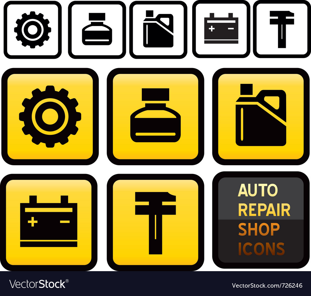 Auto repair shop icons vector | Price: 1 Credit (USD $1)