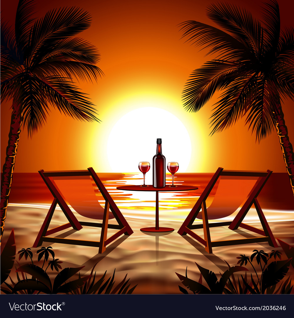 Beach at sunset vector | Price: 1 Credit (USD $1)