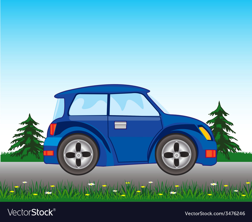 Blue car on road vector | Price: 1 Credit (USD $1)