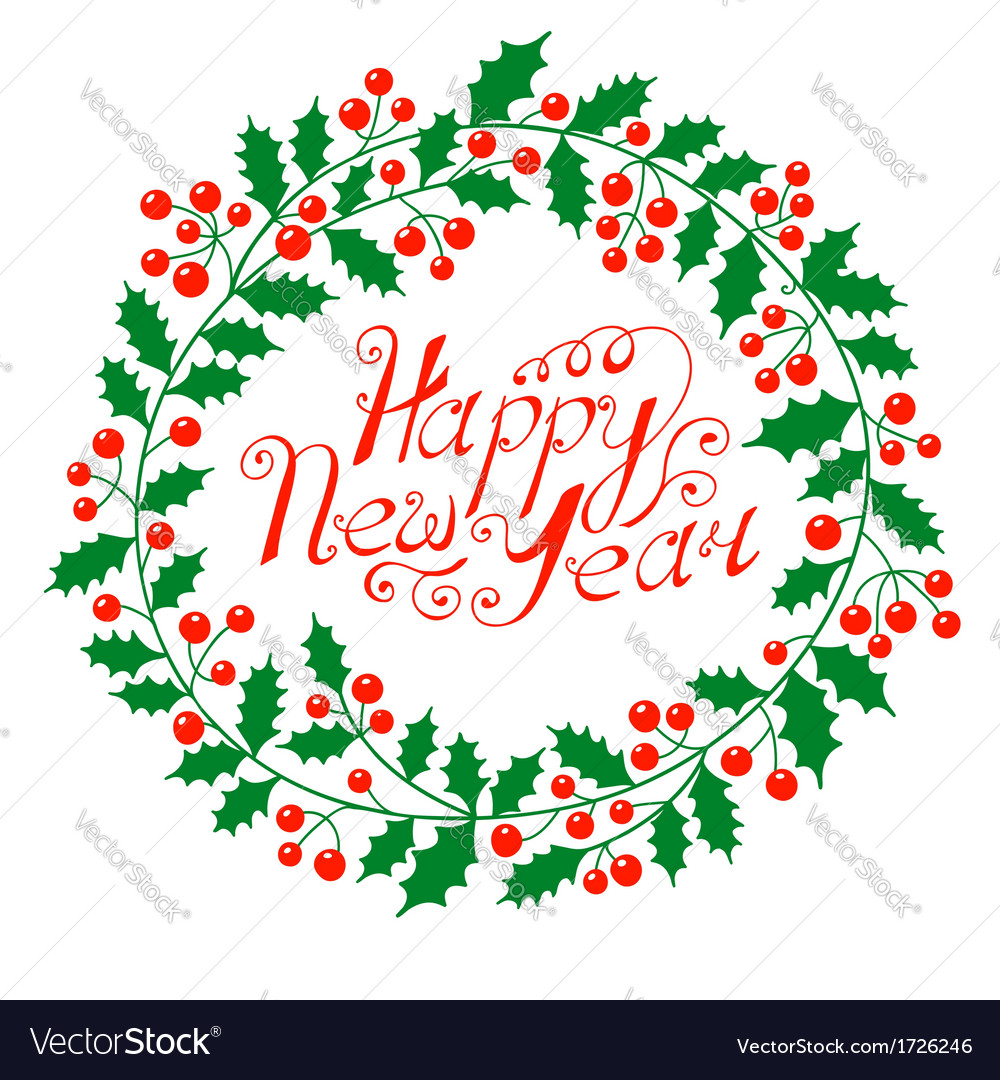 Christmas wreath with the wish a happy new year vector | Price: 1 Credit (USD $1)
