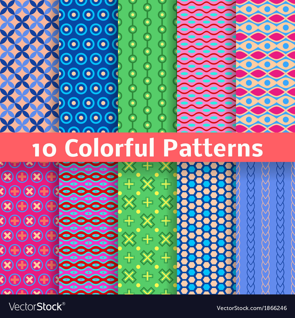 Colorful seamless patterns tiling vector | Price: 1 Credit (USD $1)