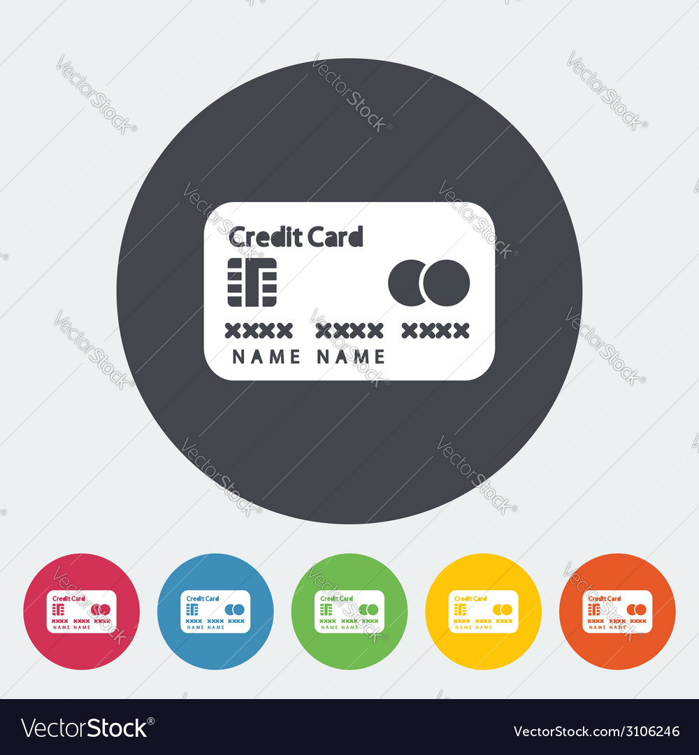 Credit card single flat icon vector | Price: 1 Credit (USD $1)