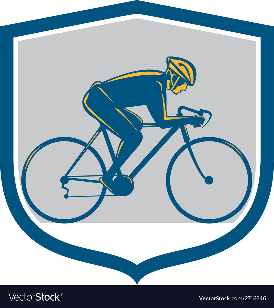 Cyclist riding mountain bike shield retro vector | Price: 1 Credit (USD $1)