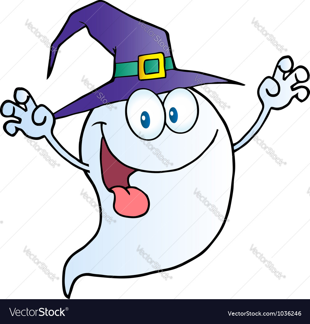 Ghost holding his hands up and wearing a witch hat vector | Price: 1 Credit (USD $1)