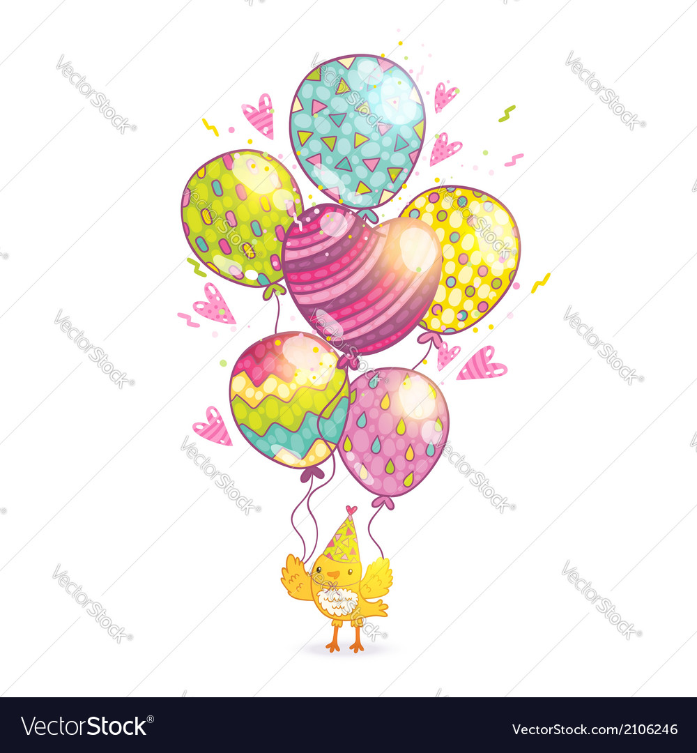 Happy birthday background with bird and balloons vector | Price: 1 Credit (USD $1)