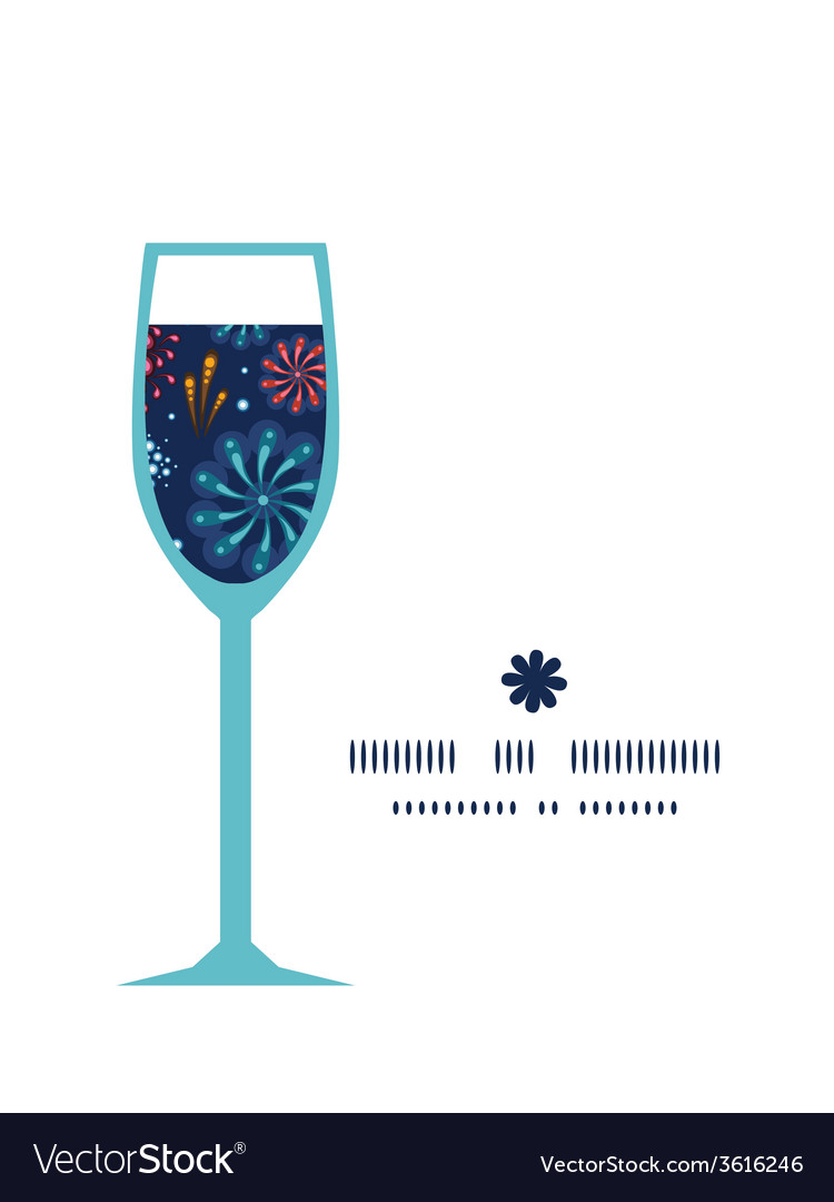 Holiday fireworks wine glass silhouette pattern vector | Price: 1 Credit (USD $1)