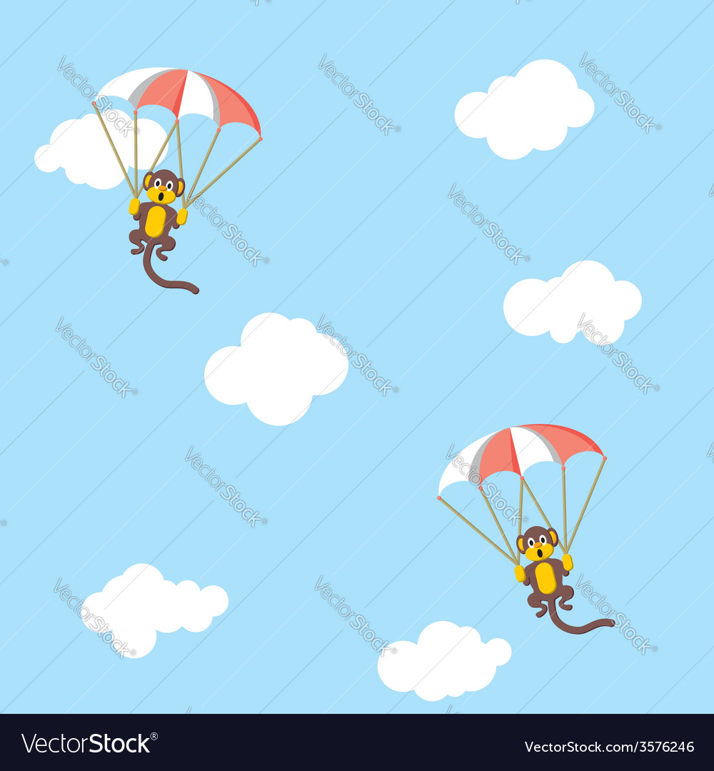 Monkeys with parachutes vector | Price: 1 Credit (USD $1)