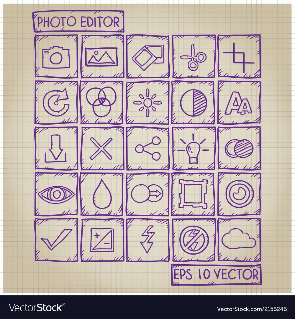 Photo editor icon doodle set vector | Price: 1 Credit (USD $1)