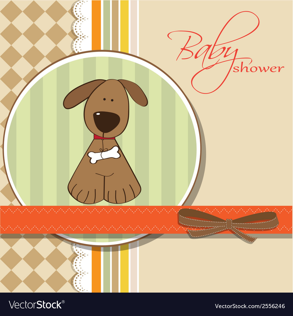 Romantic baby shower card with dog vector | Price: 1 Credit (USD $1)