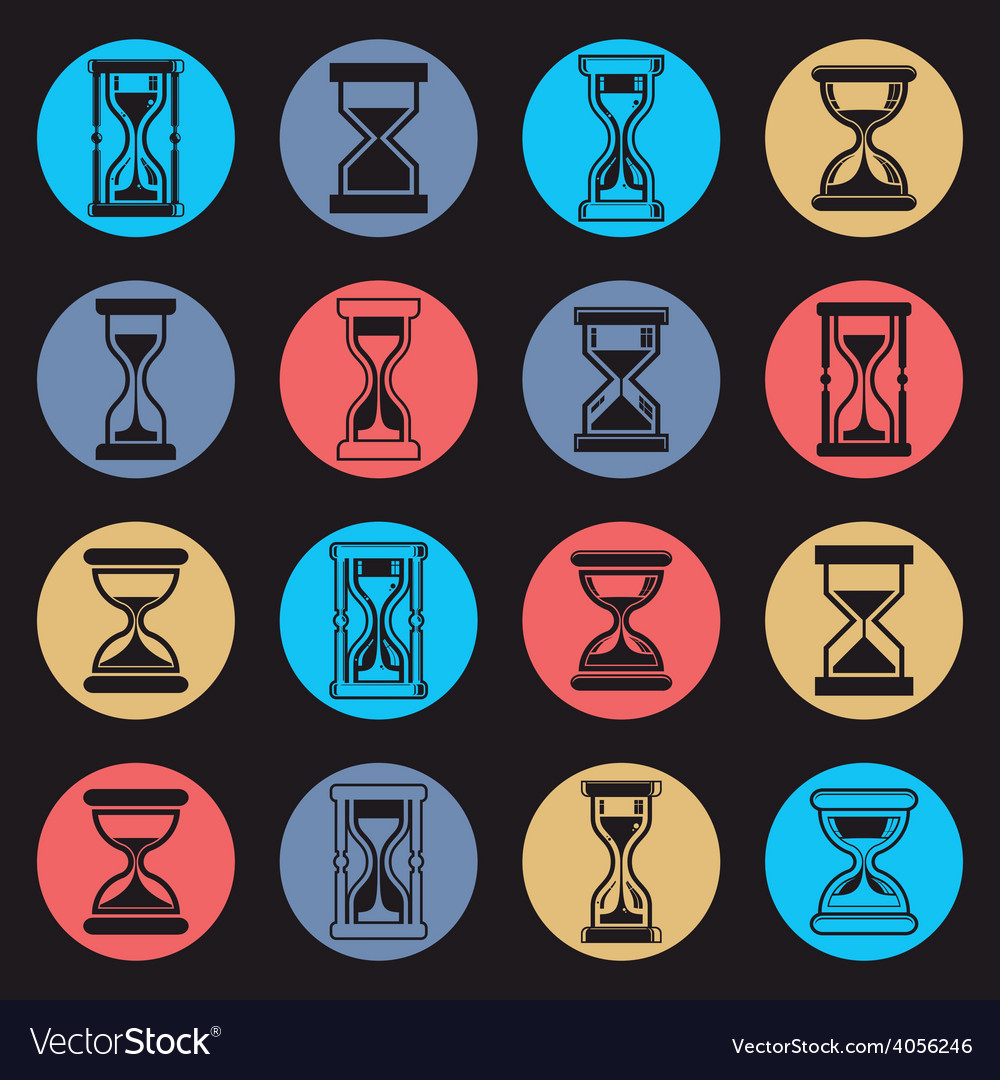 Stylized sand-glass set of antique classic hourgl vector | Price: 1 Credit (USD $1)