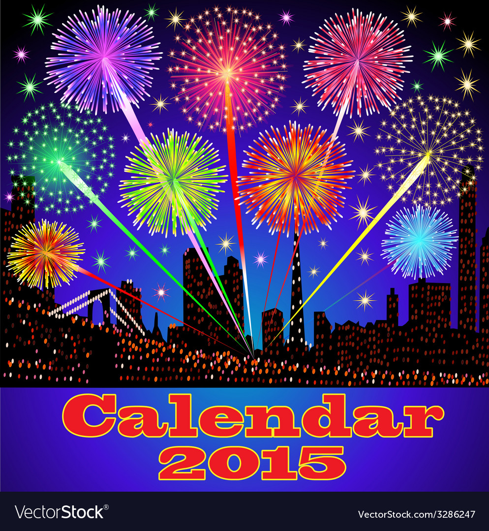 Cover of calendar with fireworks vector | Price: 1 Credit (USD $1)