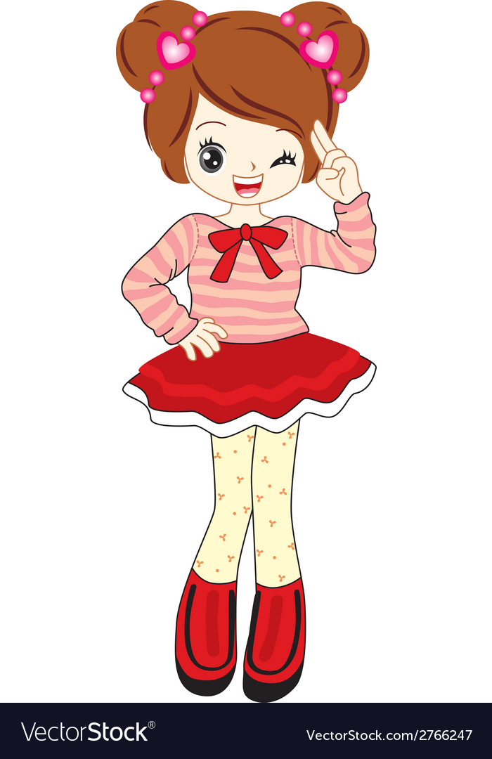 Cute little girl anime with red sweater vector | Price: 1 Credit (USD $1)