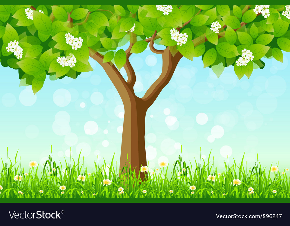 Green tree in the grass vector | Price: 3 Credit (USD $3)