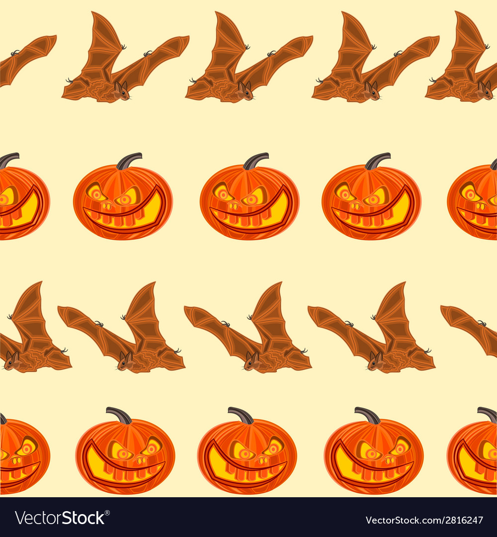 Halloween seamless texture pumpkin and bat vector | Price: 1 Credit (USD $1)
