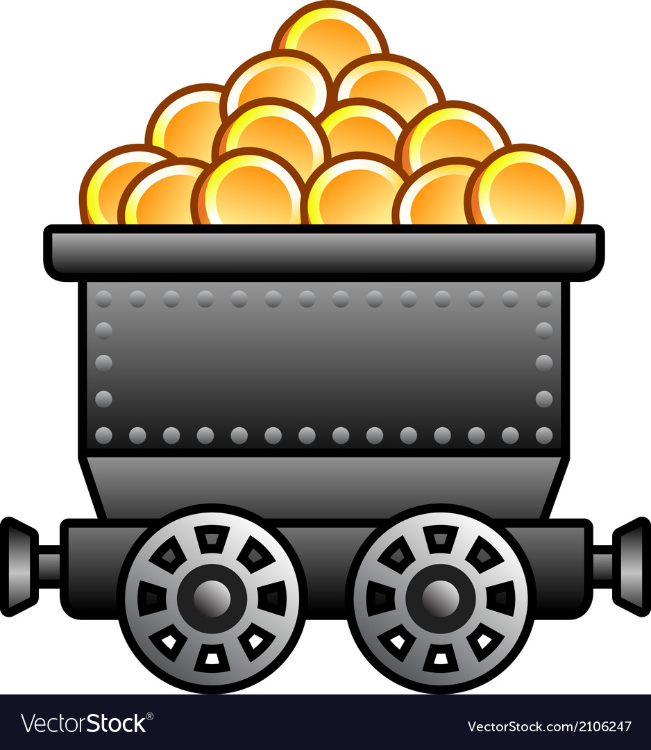 Iron mine cart with coins vector | Price: 1 Credit (USD $1)